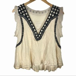 Free People Embroidered Top NWT